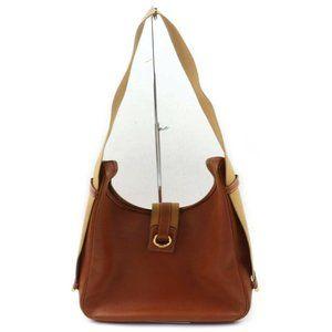 Auth Hermes Brown Leather Shoulder Bag #4317H20